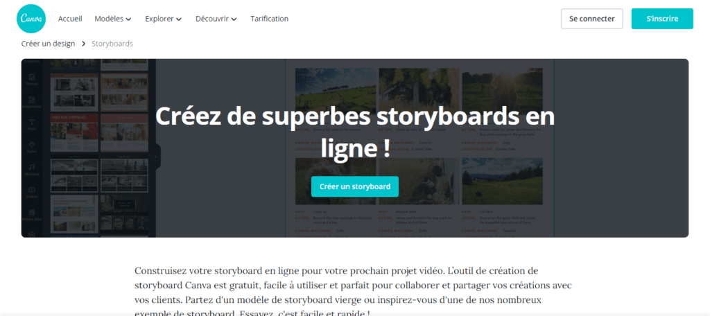 logiciel storyboard - canva