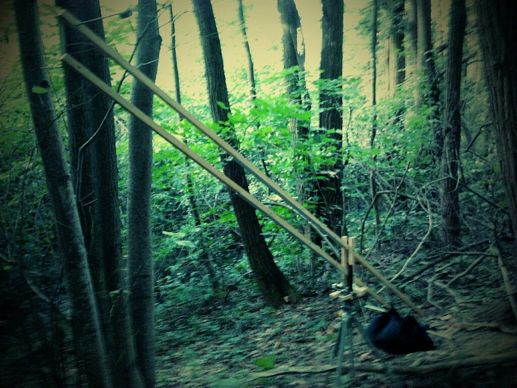 Photo de la grue en bois construite par Romain, Dimitri et Tim.
